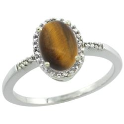 Natural 1.06 ctw Tiger-eye & Diamond Engagement Ring 14K White Gold - REF-22Z3Y
