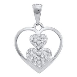 0.15 CTW Diamond Nested Heart Cluster Pendant 10KT White Gold - REF-12X2Y