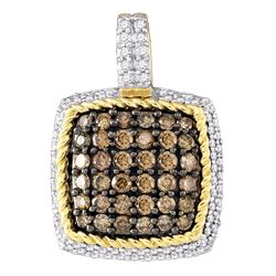 0.80 CTWCognac-brown Color Diamond Square Cluster Pendant 10KT Yellow Gold - REF-41X9Y