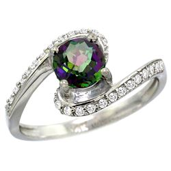 Natural 1.24 ctw mystic-topaz & Diamond Engagement Ring 14K White Gold - REF-52Y6X