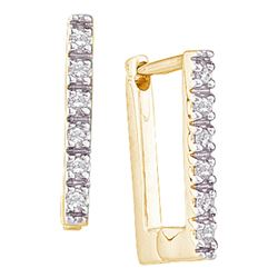 0.06 CTW Diamond Rectangle Notched-post Hoop Earrings 10KT Yellow Gold - REF-10F5N