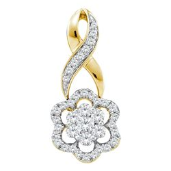 0.50 CTWDiamond Flower Cluster Pendant 14KT Yellow Gold - REF-52K4W
