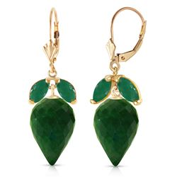 Genuine 26.8 ctw Green Sapphire Corundum & Emerald Earrings Jewelry 14KT Yellow Gold - REF-59K9V