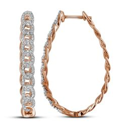 0.50 CTWDiamond Hoop Earrings 10KT Rose Gold - REF-52F4N