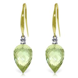 Genuine 19.1 ctw Green Amethyst & Diamond Earrings Jewelry 14KT Yellow Gold - REF-41M3T