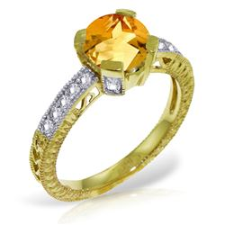 Genuine 1.80 ctw Citrine & Diamond Ring Jewelry 14KT Yellow Gold - REF-98A3K
