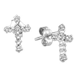0.06 CTW Diamond Cross Stud Earrings 10KT White Gold - REF-7X4Y