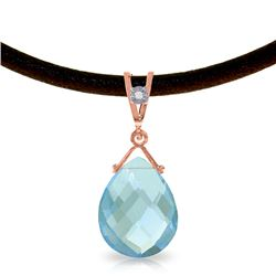 Genuine 6.51 ctw Blue Topaz & Diamond Necklace Jewelry 14KT Rose Gold - REF-26P9H