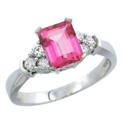 Natural 1.48 ctw pink-topaz & Diamond Engagement Ring 10K White Gold - REF-43Z3Y