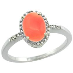 Natural 1.15 ctw Coral & Diamond Engagement Ring 10K White Gold - REF-16W4K