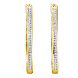 0.15 CTW Diamond Single Row Slender Hoop Earrings 10KT Yellow Gold - REF-32F9N