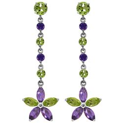 Genuine 4.8 ctw Peridot & Amethyst Earrings Jewelry 14KT White Gold - REF-56F8Z