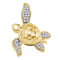 0.10 CTW Diamond Sea Turtle Tortoise Animal Shell Pendant 10KT Yellow Gold - REF-12K2W