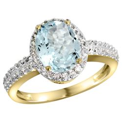 Natural 1.57 ctw Aquamarine & Diamond Engagement Ring 14K Yellow Gold - REF-47V5F