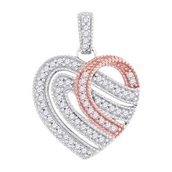 0.20 CTW Diamond Heart Milgrain Pendant 10KT Two-tone Gold - REF-19H4M