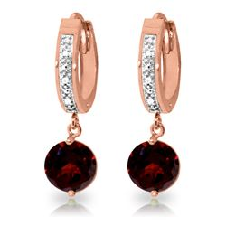 Genuine 2.53 ctw Garnet & Diamond Earrings Jewelry 14KT Rose Gold - REF-54V6W