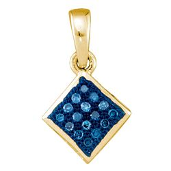 0.05 CTW Blue Color Diamond Square Pendant 10KT Yellow Gold - REF-6N2F