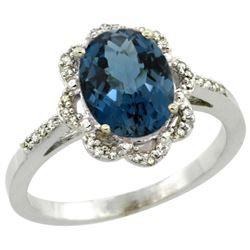 Natural 1.85 ctw London-blue-topaz & Diamond Engagement Ring 14K White Gold - REF-39K2R