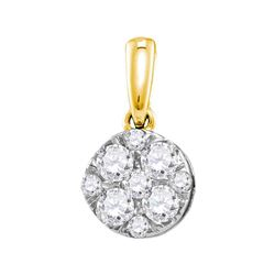 0.50 CTWDiamond Cluster Pendant 14KT Yellow Gold - REF-52W4K
