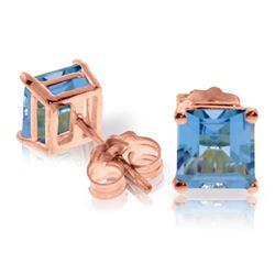 Genuine 1.75 ctw Blue Topaz Earrings Jewelry 14KT Rose Gold - REF-24V3W