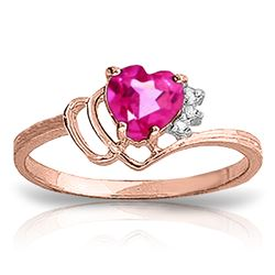 Genuine 0.97 ctw Pink Topaz & Diamond Ring Jewelry 14KT Rose Gold - REF-30W3Y