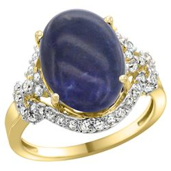 Natural 4.91 ctw lapis-lazuli & Diamond Engagement Ring 14K Yellow Gold - REF-83N2G