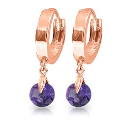Genuine 1.50 ctw Amethyst Earrings Jewelry 14KT Rose Gold - REF-25Z8N