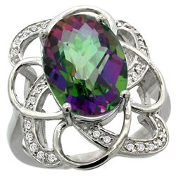 Natural 5.59 ctw mystic-topaz & Diamond Engagement Ring 14K White Gold - REF-59F6N