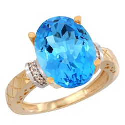 Natural 5.53 ctw Swiss-blue-topaz & Diamond Engagement Ring 14K Yellow Gold - REF-60G3M