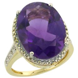 Natural 13.6 ctw Amethyst & Diamond Engagement Ring 14K Yellow Gold - REF-75R6Z