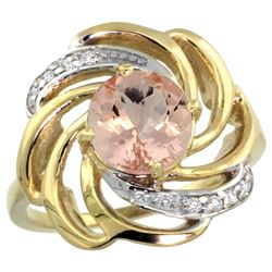 Natural 1.75 ctw morganite & Diamond Engagement Ring 14K Yellow Gold - REF-70M5H