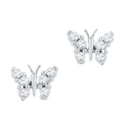 0.20 CTW Diamond Butterfly Stud Earrings 10KT White Gold - REF-18H2M