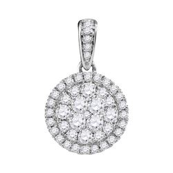 0.50 CTWDiamond Circle Cluster Pendant 14KT White Gold - REF-47M9H