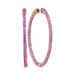 3.75 CTW Pink Sapphire Slender In/Out Hoop Earrings 14KT Rose Gold - REF-119H9M