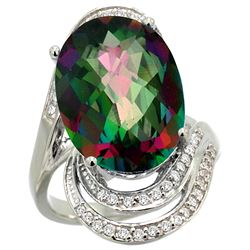 Natural 11.2 ctw mystic-topaz & Diamond Engagement Ring 14K White Gold - REF-95G8M