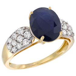 Natural 2.75 ctw blue-sapphire & Diamond Engagement Ring 14K Yellow Gold - REF-118H9W