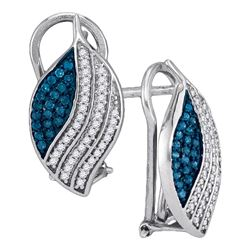 0.45 CTW Blue Color Diamond Oval Cluster Earrings 10KT White Gold - REF-32M9H