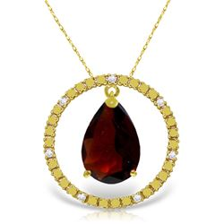 Genuine 6.6 ctw Garnet & Diamond Necklace Jewelry 14KT Yellow Gold - REF-52X9M