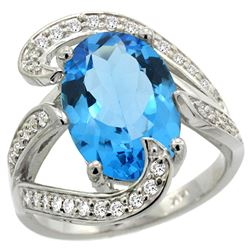 Natural 6.22 ctw swiss-blue-topaz & Diamond Engagement Ring 14K White Gold - REF-134V9F
