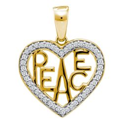 0.15 CTW Diamond Yellow Peace Heart Pendant 10KT Two-tone Gold - REF-18M2H