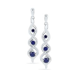 0.50 CTWCreated Blue Sapphire Cascade Dangle Earrings 10KT White Gold - REF-19Y4X