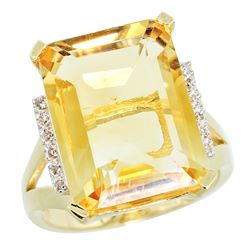 Natural 12.13 ctw Citrine & Diamond Engagement Ring 10K Yellow Gold - REF-55V8F