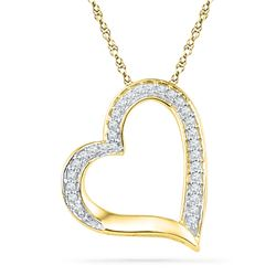 0.13 CTW Diamond Heart Outline Pendant 10KT Yellow Gold - REF-8X9Y