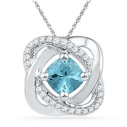 0.73 CTW Created Blue Topaz & Diamond Square Pendant 10KT White Gold - REF-18X2Y