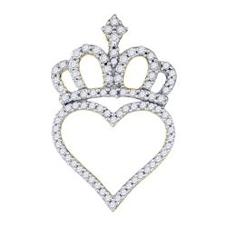 0.30 CTW Diamond Crown Heart Pendant 10KT Yellow Gold - REF-22N4F