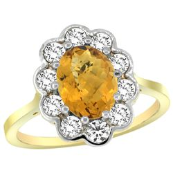 Natural 2.34 ctw Quartz & Diamond Engagement Ring 14K Yellow Gold - REF-80G8M
