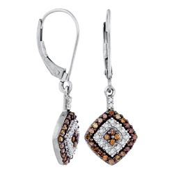 0.50 CTWCognac-brown Color Diamond Square Dangle Earrings 10KT White Gold - REF-24M2H