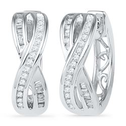 0.25 CTW Diamond Two Row Crossover Hoop Earrings 10KT White Gold - REF-25W4K
