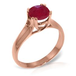 Genuine 1.35 ctw Ruby Ring Jewelry 14KT Rose Gold - REF-61K2V