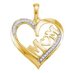 0.08 CTW Diamond Heart Love Mom Mother Pendant 10KT Yellow Gold - REF-13N4F